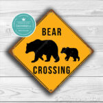 Classic Metal Signs Bear Crossing Sign 2