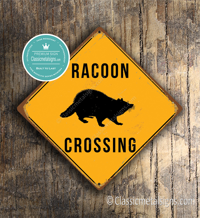 Racoon Crossing Sign