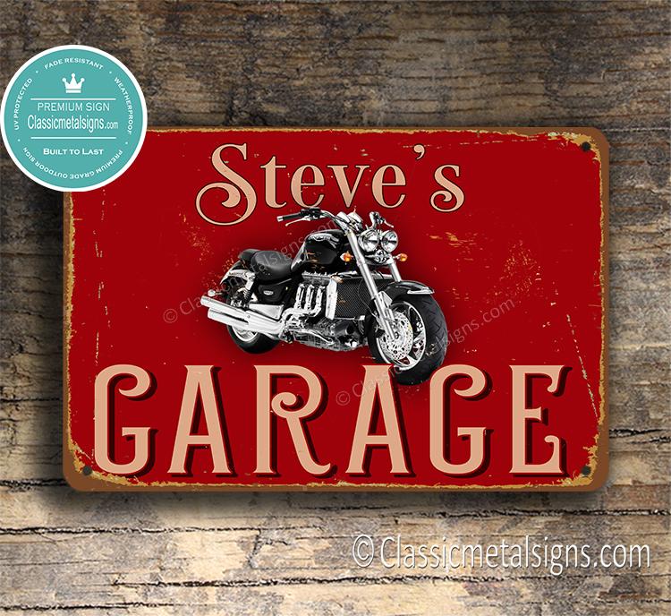 Personalized Triumph Garage Sign