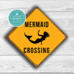 ClassicMetal Signs Mermaid Crossing Sign 1