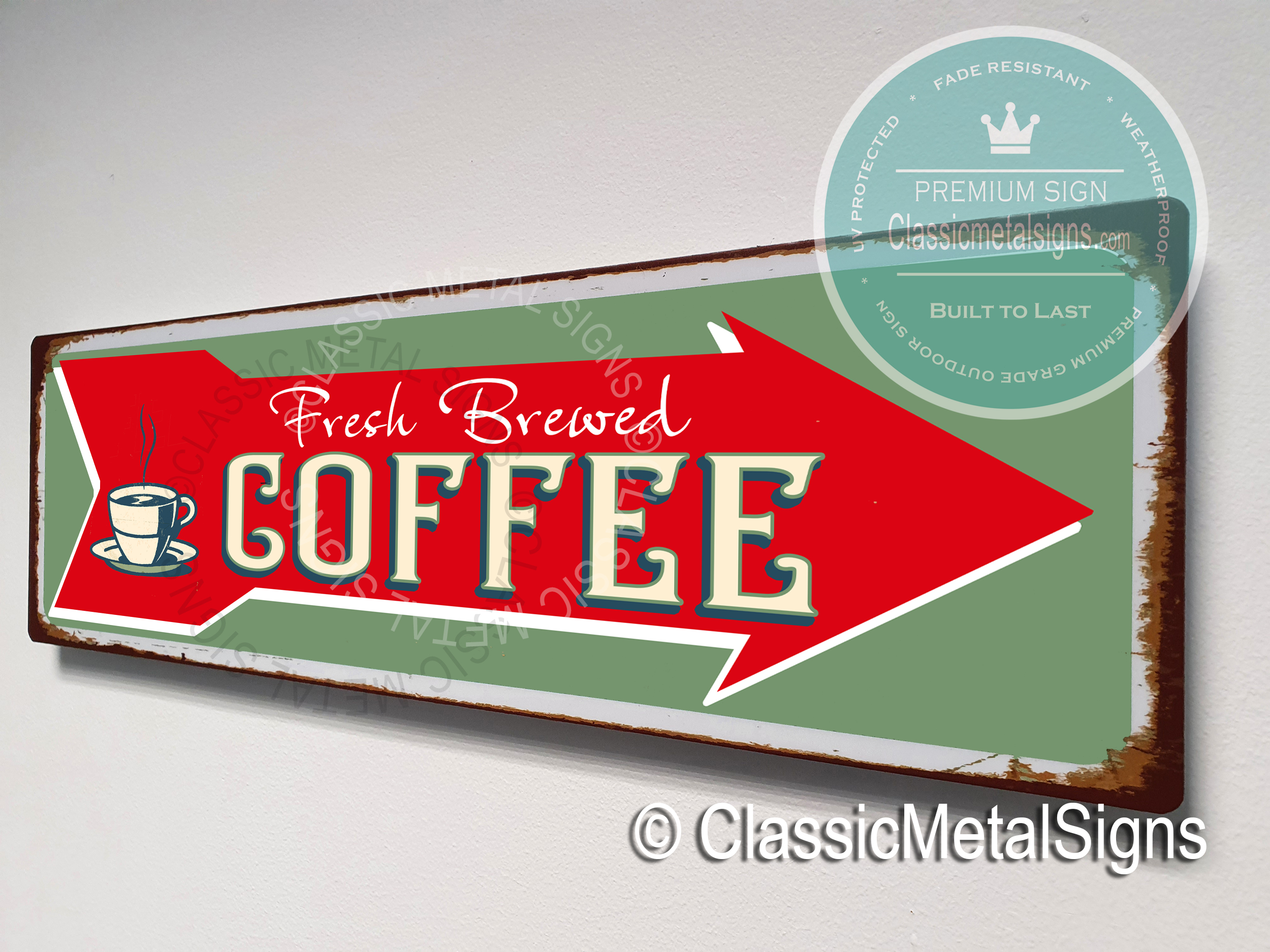 Freshly Brewed Coffee Sign with Arrow