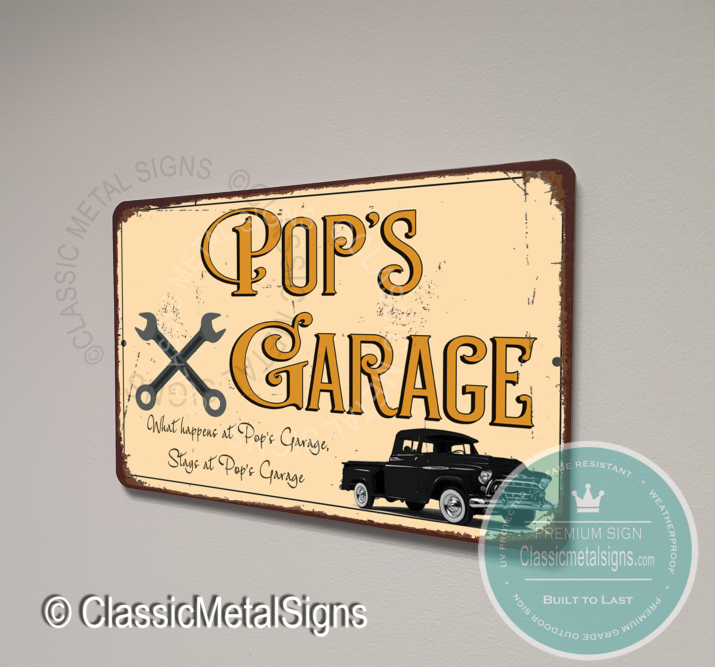 Pop's Garage Signs