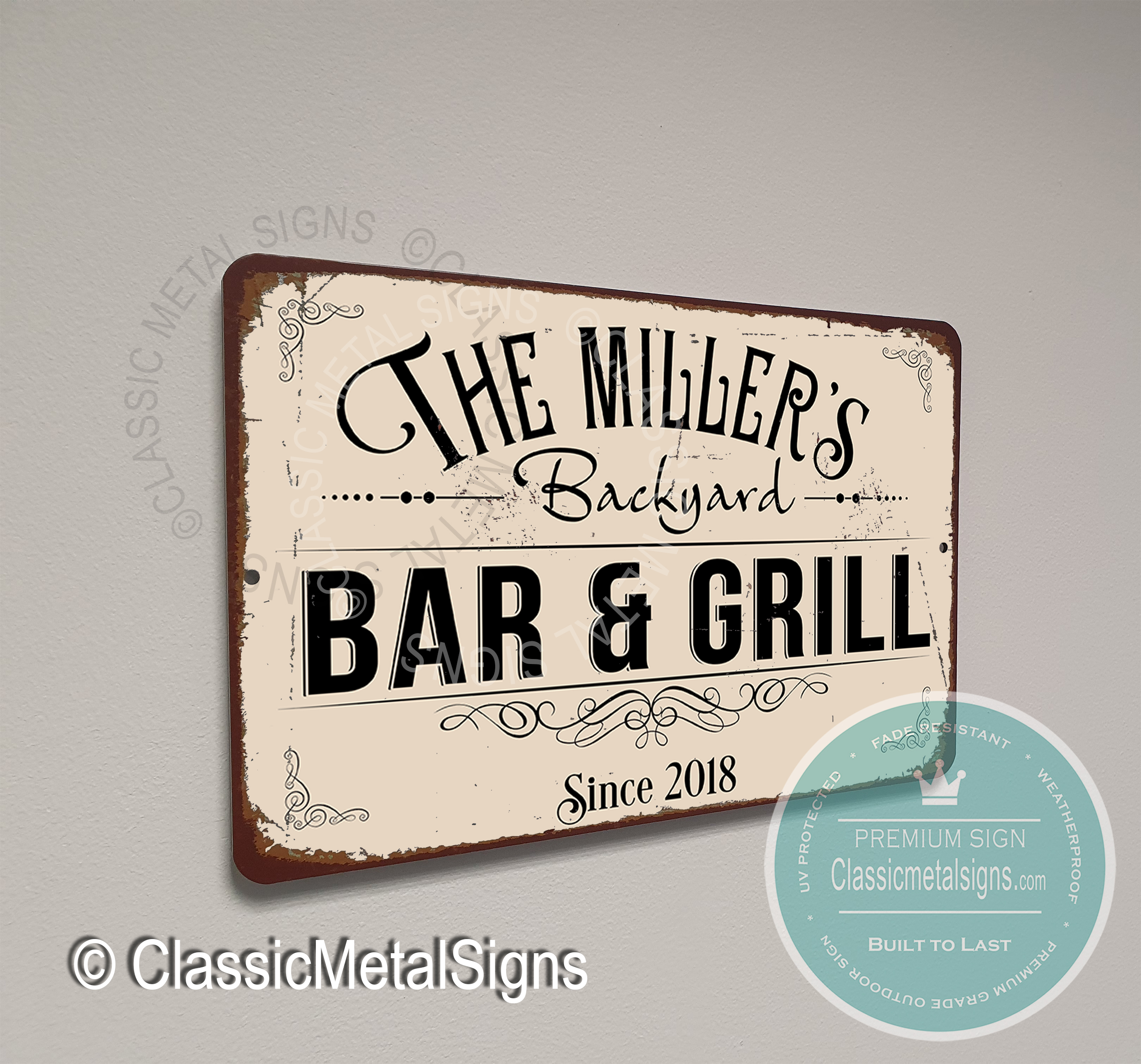 Backyard Bar and Grill Signs