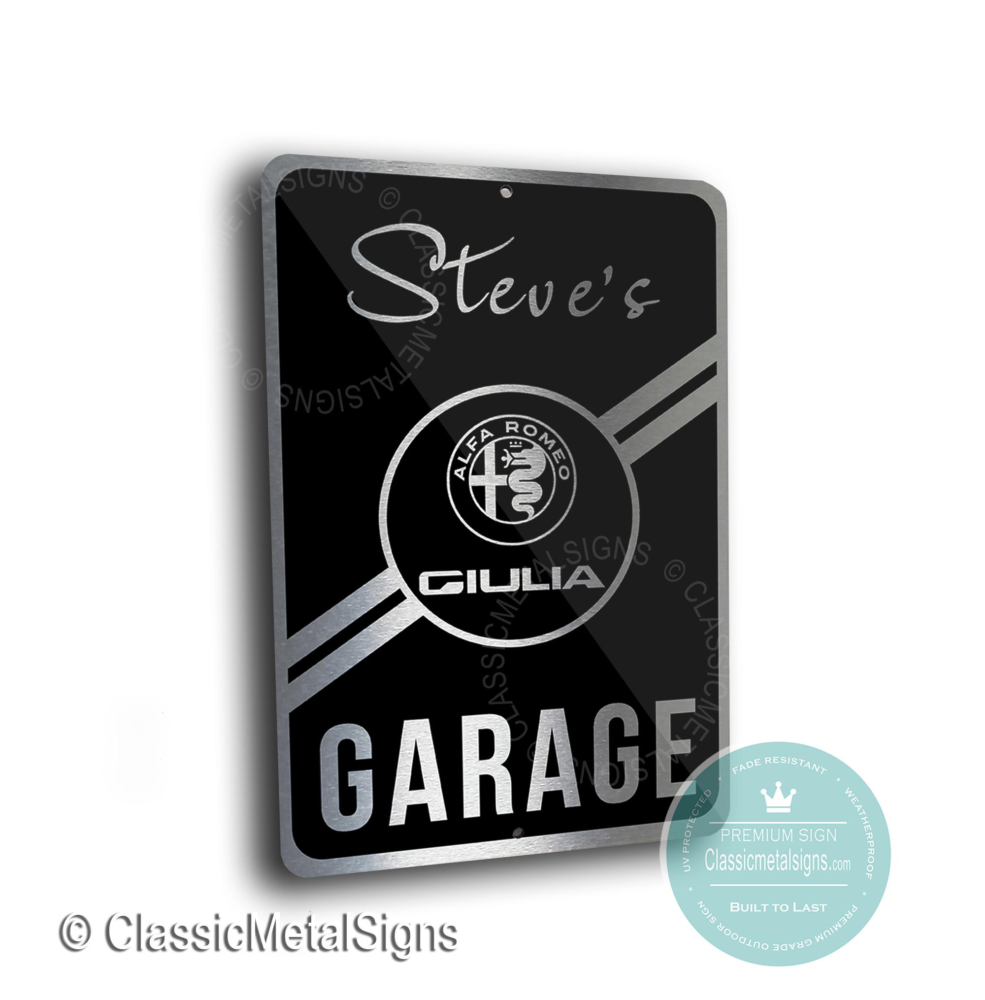 Alfa Romeo Giulia Garage Signs