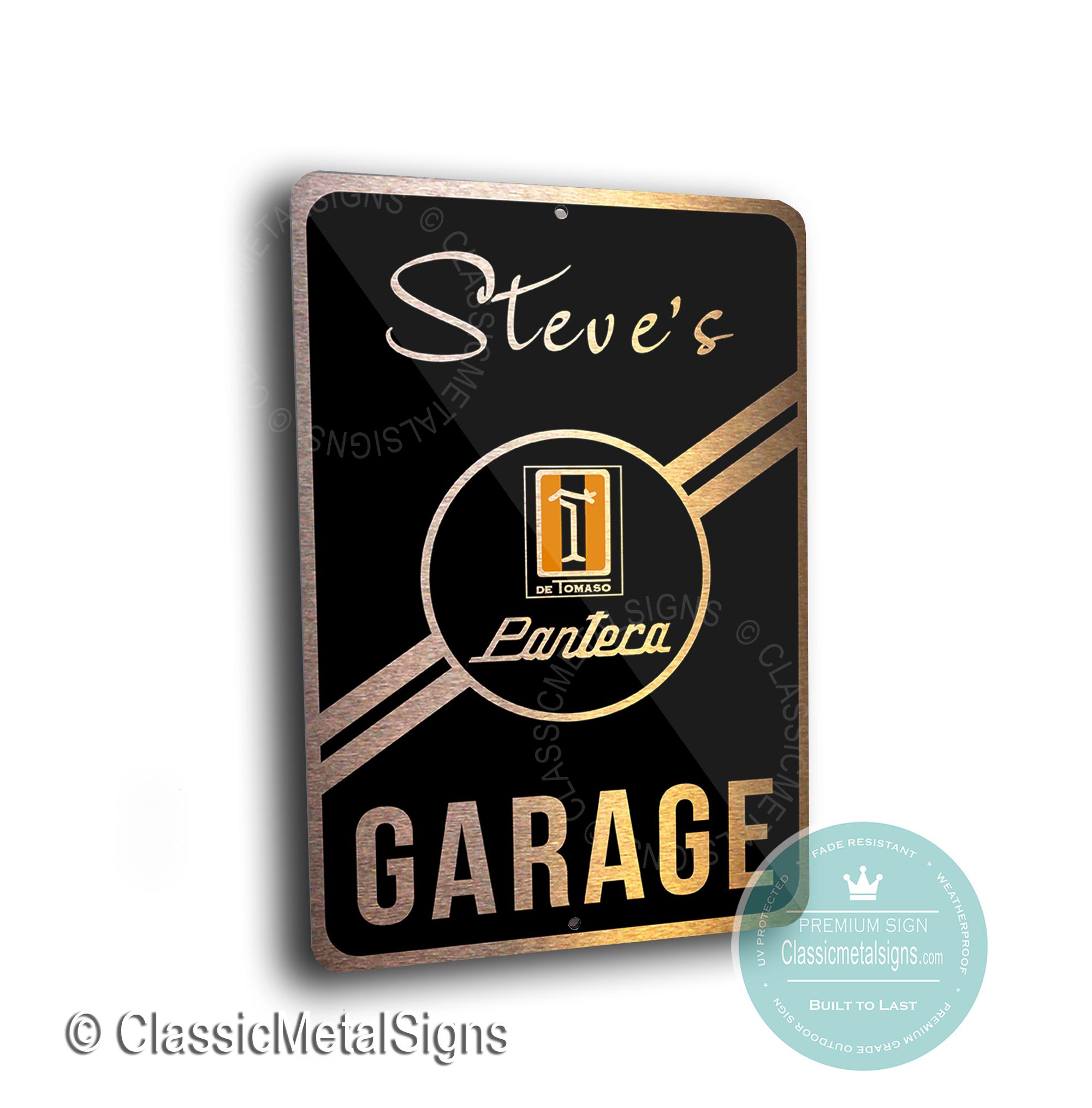 Custom De Tomaso Garage Signs