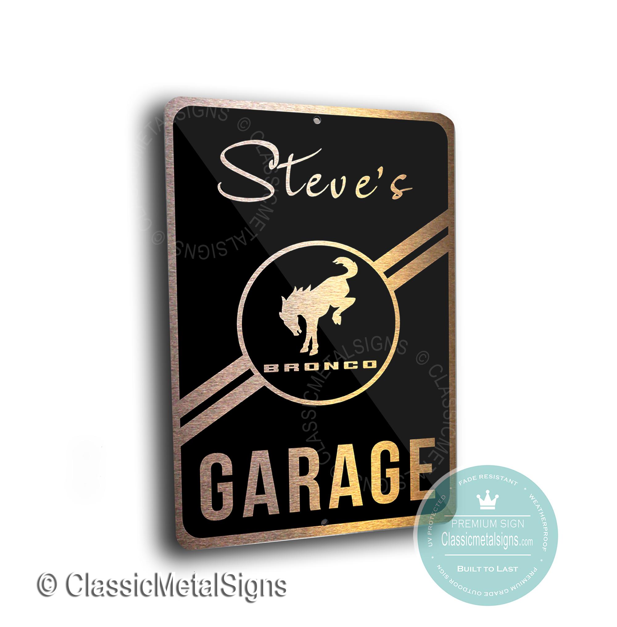 Custom Ford Bronco Garage Signs