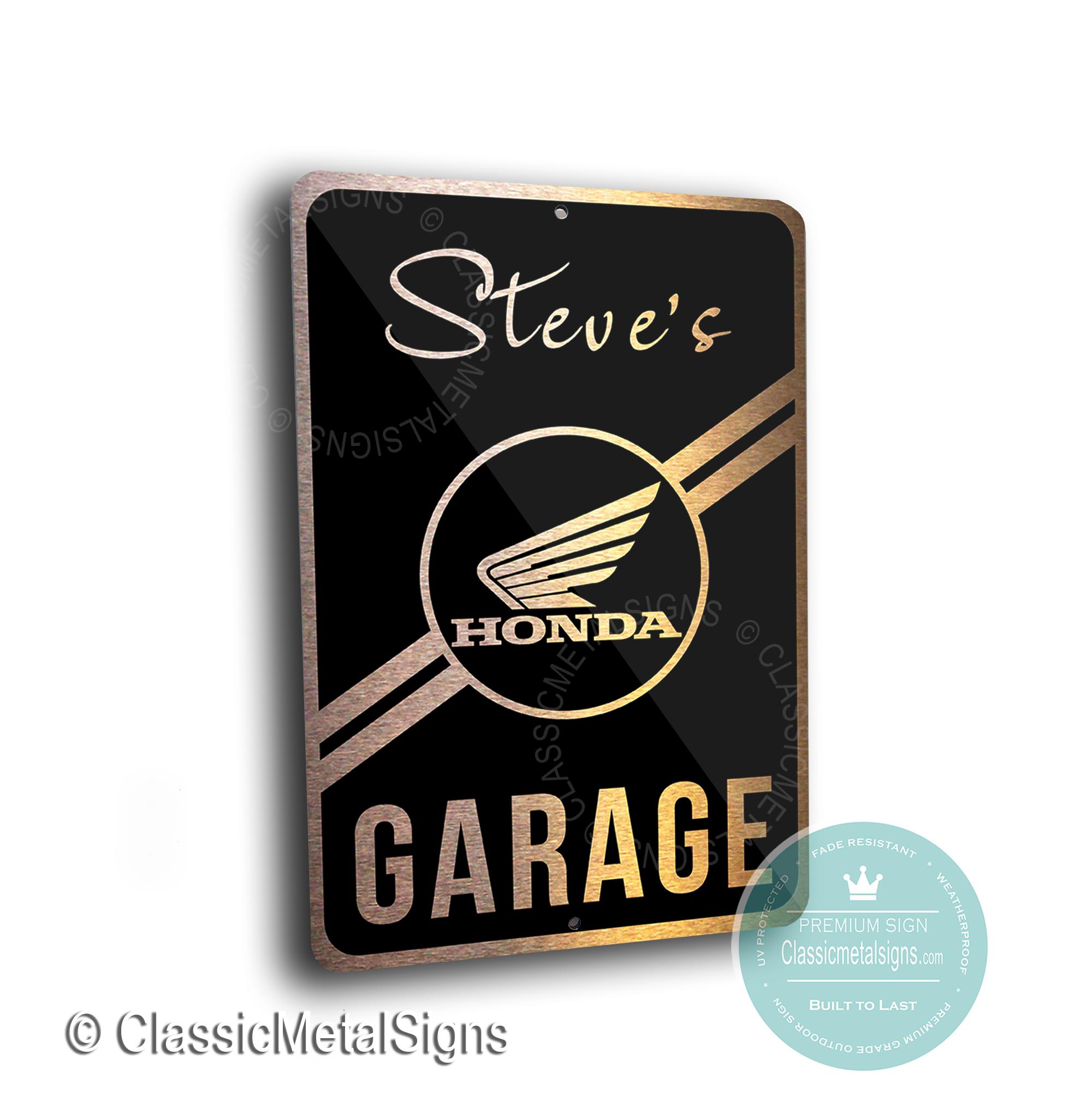 Custom Honda Motorcycle Garage Signs