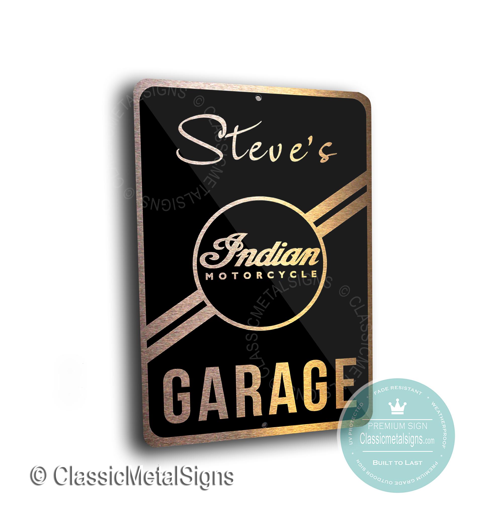 Custom Indian Motorcycle Garage Signs