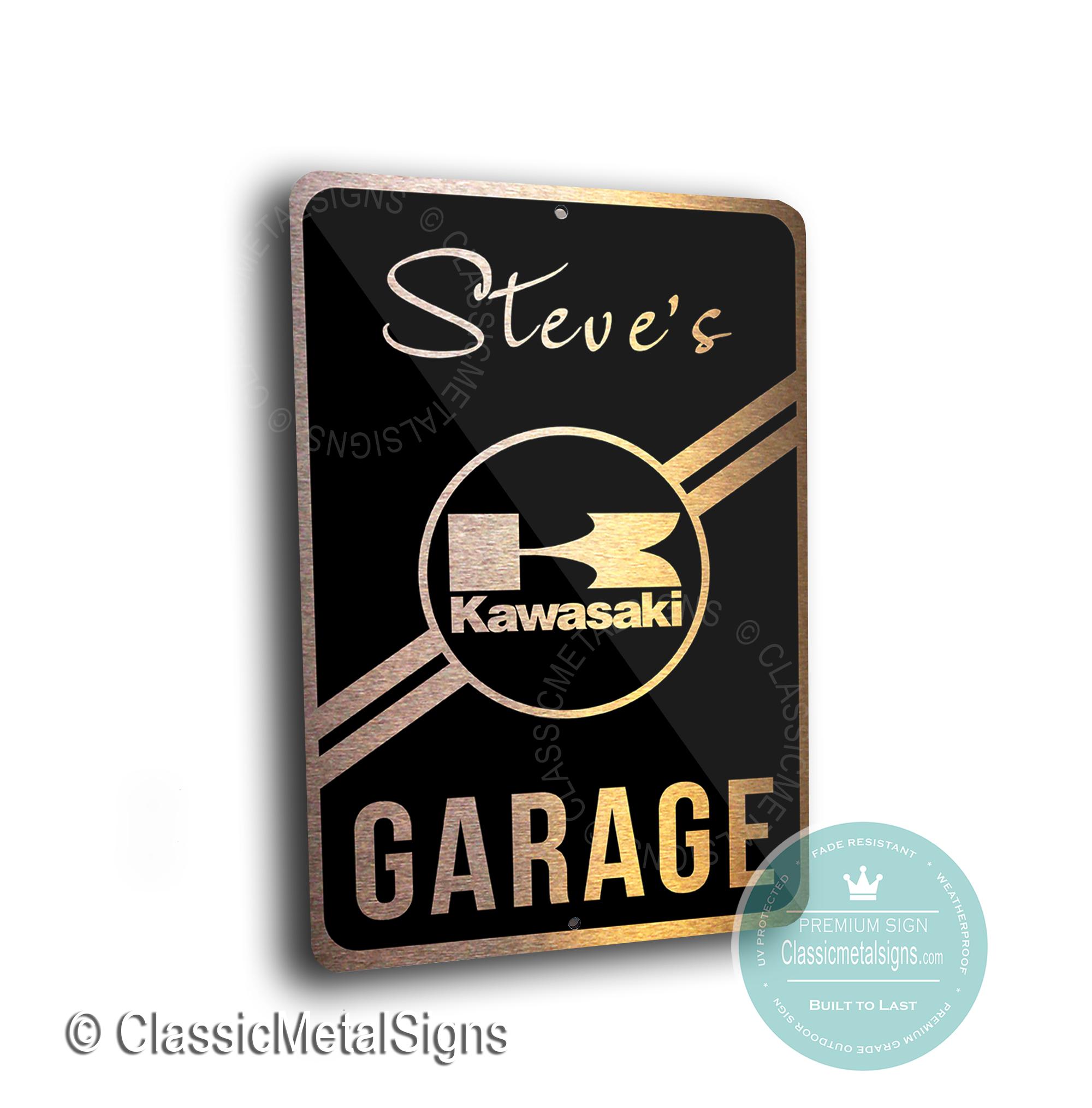 Custom Kawasaki Garage Signs