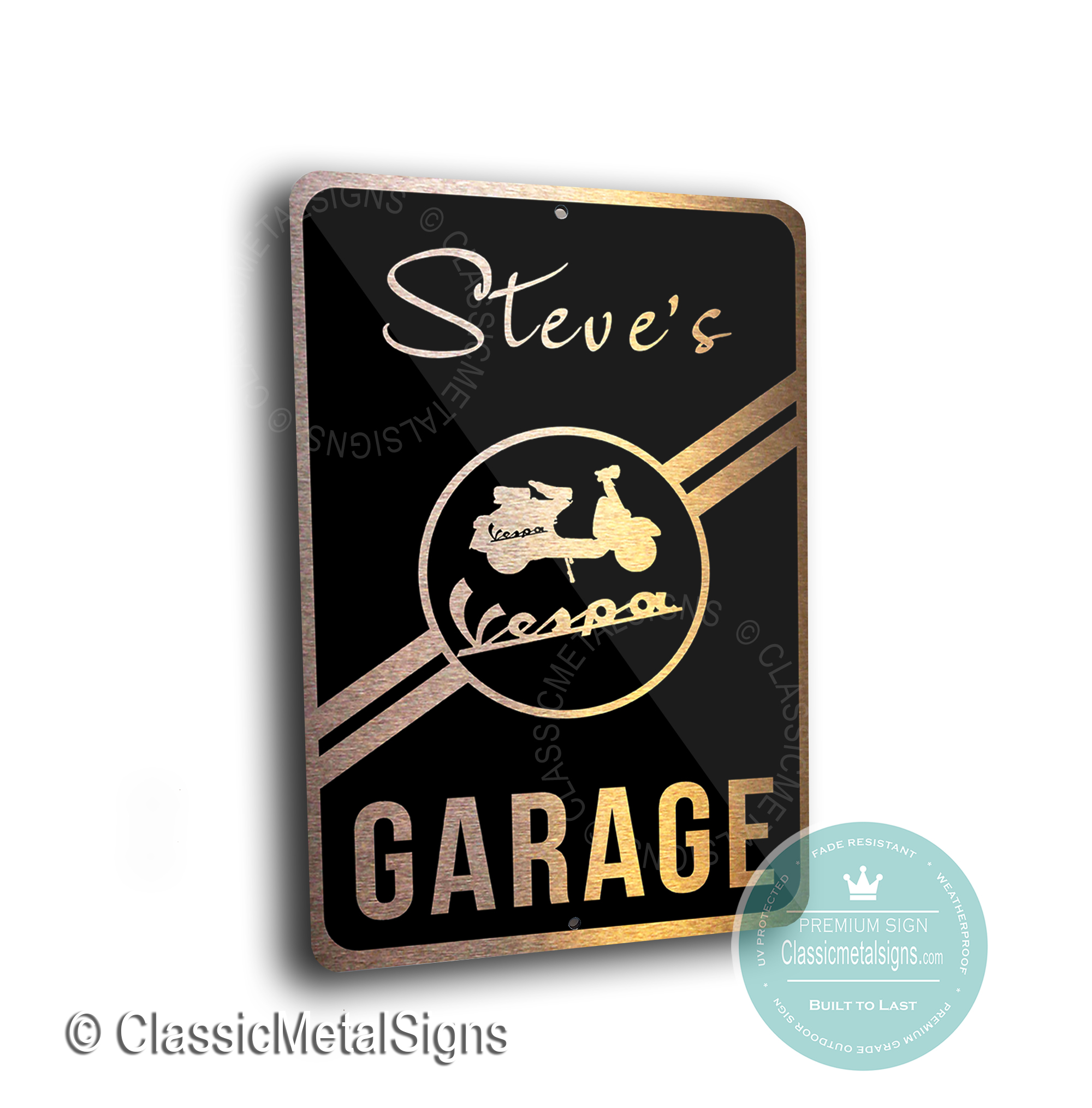 Custom Vespa Garage Signs