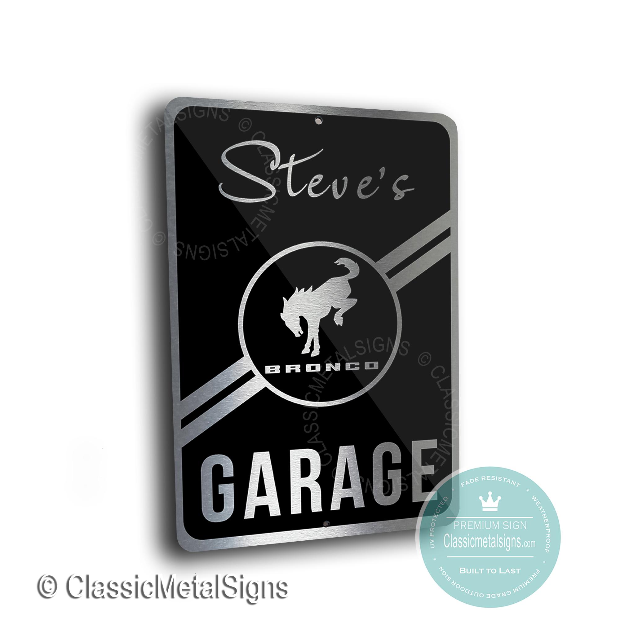 Ford Bronco Garage Signs