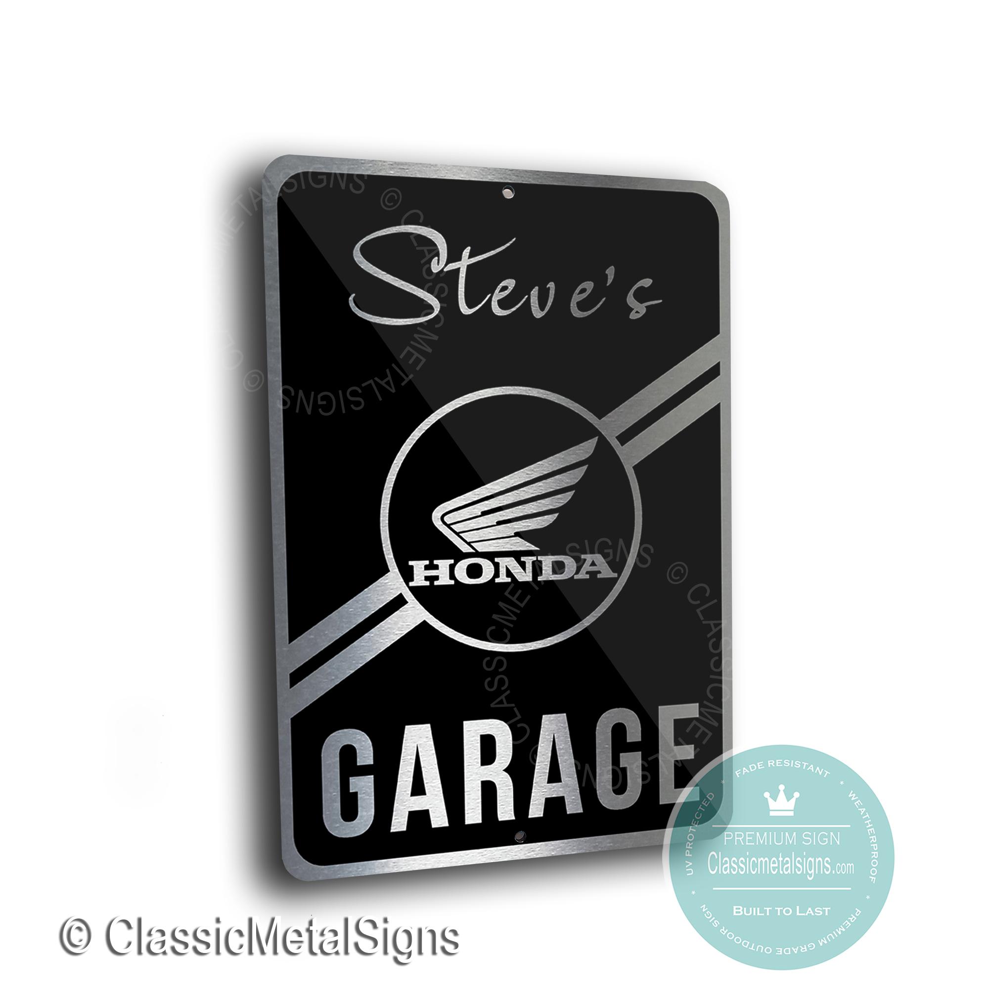 Honda Motorcycle Garage Signs